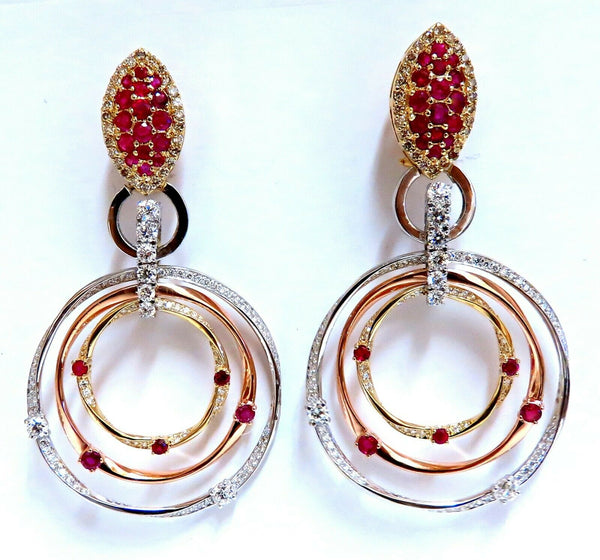 7.38ct Natural Ruby Diamond Dangle Chandelier Earrings 14 Karat Gold Omega