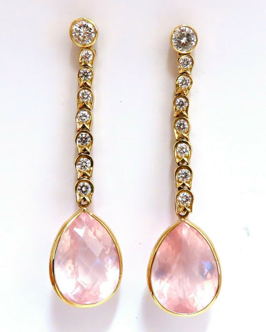 36.34ct Natural Rose Quartz Diamond Dangle Earrings 14 Karat Pink Flash