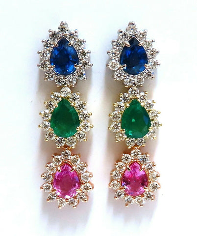 13.24ct Natural Emeralds & Sapphires Three Tier Dangle Earrings 18 Karat Pears