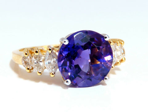 4.45ct Natural Round Vivid Purple Amethyst Diamond Ring 14 Karat