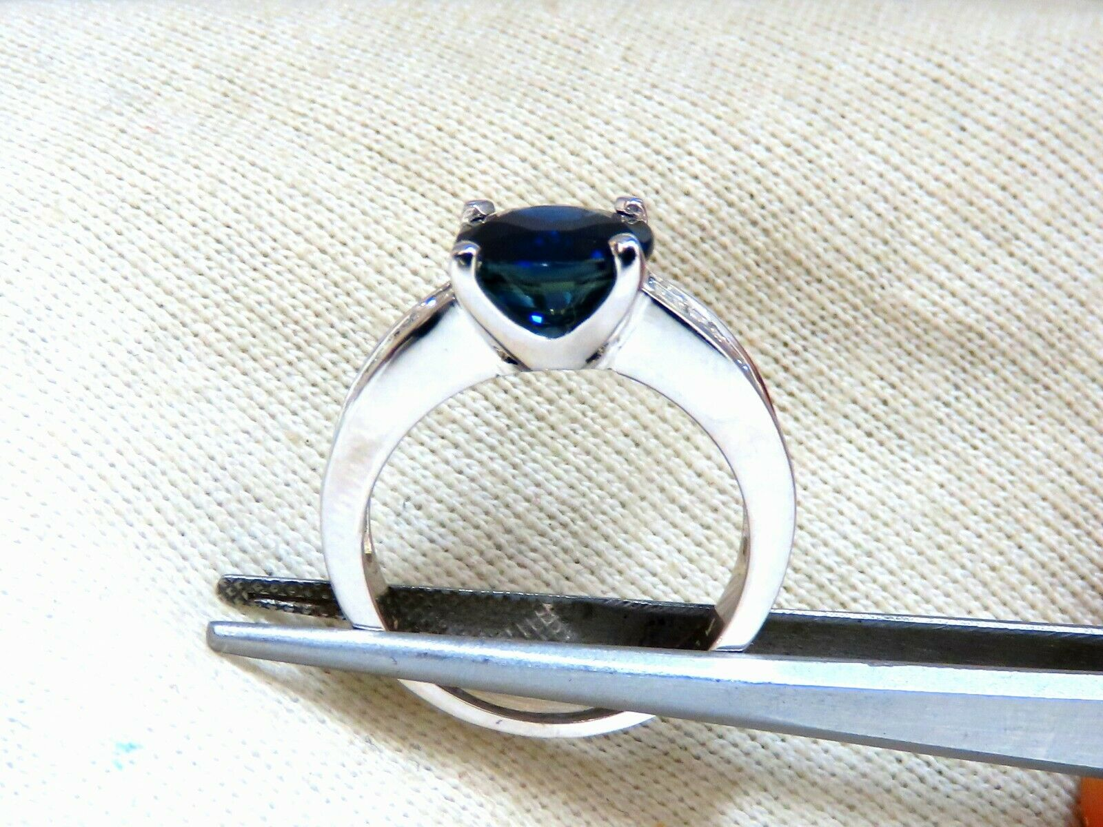 GIA Certified 4.09ct Natural Round No Heat Sapphire Diamond Ring Unheated 14kt