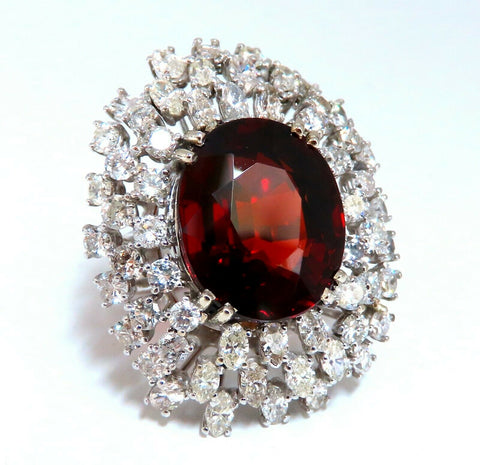 GIA Certified 21.23CT Natural Spessartite Garnet Cluster Ring 14 Karat Domed