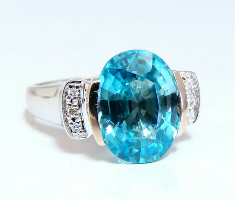 5.65ct Natural Indigo Blue zircon Diamonds Ring 14kt
