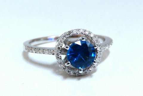 1.22ct Natural Blue Sapphire Halo Cluster Ring 14 Karat