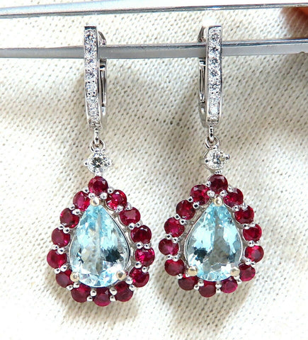 5.12ct Natural Aquamarines Ruby Diamond Dangle Earrings 14 Karat