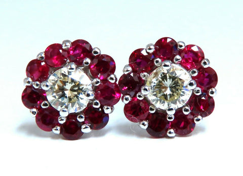 2.01Ct Natural Ruby Diamond Cluster Earrings 14 Karat Stud Cocktail
