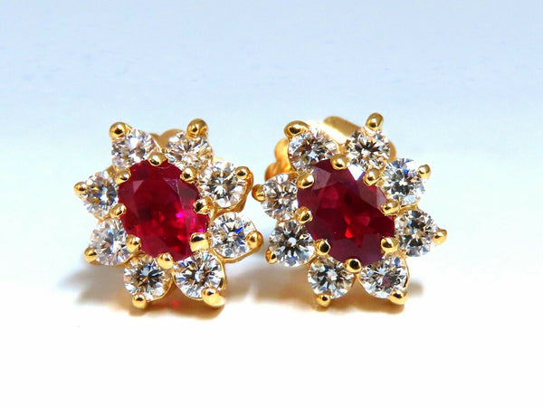 GIA Certified 2.24ct natural Ruby Diamonds Cluster Earrings 18 Karat