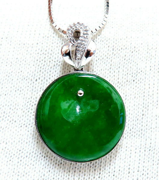 GIA Certified Natural Green Jade Necklace 18Kt