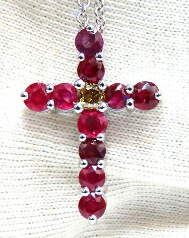 5.73ct Natural Ruby Fancy Color Yellow Green Diamond Cross 14 Karat