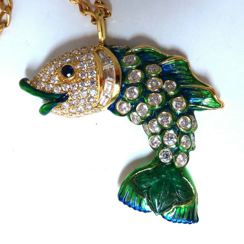 10.12ct Natural Sapphire Emerald & Diamonds Enamel Fish Pendant 18kt