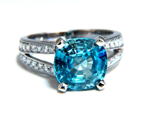 5.82ct Natural Indigo Blue zircon Diamonds Ring 14kt