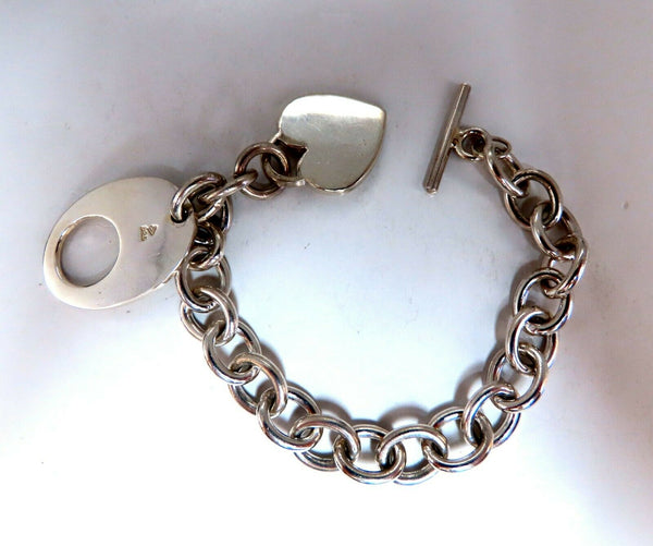 Sterling Silver Toggle Heart Link Bracelet