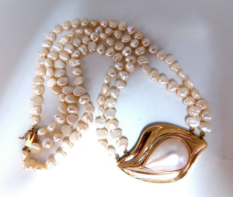 Mabe Pearl Fresh Water Double Stranded Bead Necklace 14kt 16 inch