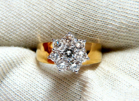 1.04ct Natural Diamonds Floating Cluster on Band Ring 14kt Vintage