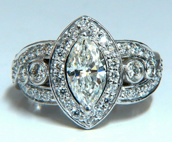 GIA Certified 1.01ct Natural Marquise Diamond Cluster Halo Ring 18kt