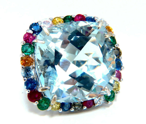 GIA Certified 41.62ct Natural Aquamarine Diamonds & Color Sapphires Ring 14kt