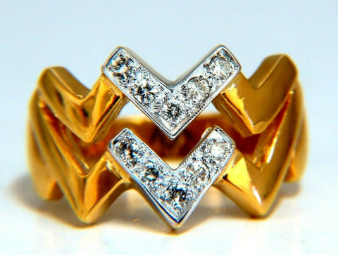 .20ct Double Chevron Diamonds Ring 14 Karat V Band