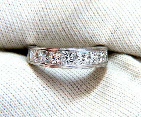 2.30ct Natural Princess Cut Diamonds Channel Band Platinun Ring