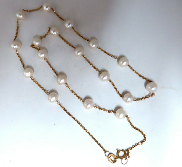 Fresh Water Pearls Yard Necklace 14Kt Gold