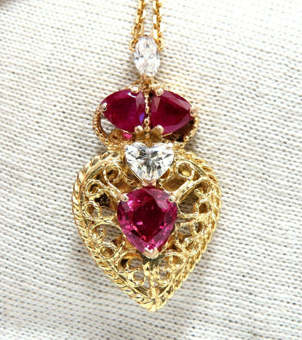 3.78ct AIGS Certified No Heat Ruby Diamonds Necklace 14Kt Heart Marquise