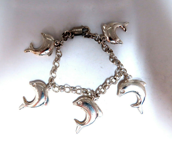 Sterling Silver Miami Dolphins Bracelet 7.5 inch