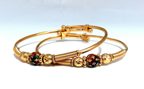 18kt Twin Girl's Bangle Bracelets Adjustable Interlocking Vintage Mod