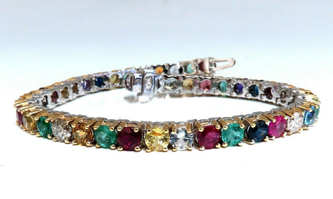 13.45Ct Natural Gem-Line Spinel Emerald Sapphire Ruby Amethyst Diamond Bracelet
