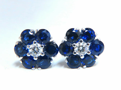 5.62ct Natural Sapphire Diamonds Floretta Cluster Snowflake Earrings 14 Karat