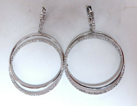 1.20ct natural diamonds loop rings dangle earrings 14kt gold