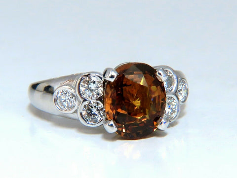 GIA Certified 4.75ct Natural No Heat Orange Brown Sapphire Diamond Ring 14kt