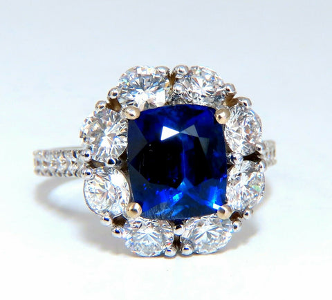 GIA Certified 5.48ct Natural No Heat Royal Blue Sapphire Ring Halo Prime