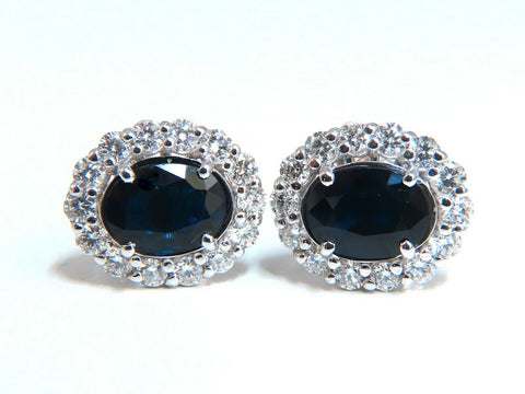 4.52ct Natural Sapphire Diamonds Cluster Earrings 14 Karat gold