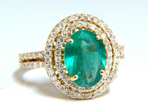 2.93ct Natural Emerald Diamonds Double Halo Ring 14kt