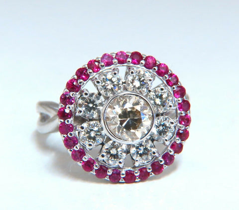 .76ct Fancy Color Diamond Ruby Cocktail Circular Cluster Halo Ballerina Ring 14k