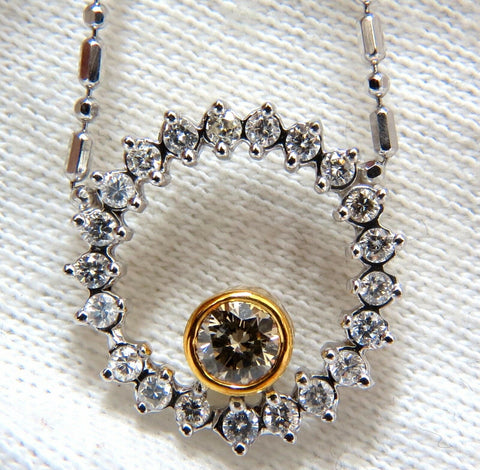 1.02ct. Natural Yellow Brown Diamond Circle Eternity Necklace