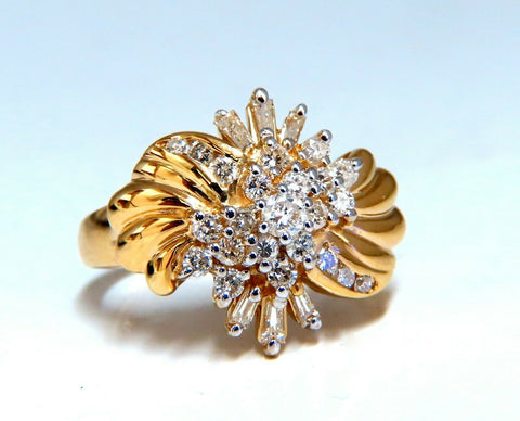 .70ct Natural Baguette & Rounds Flaming Cocktail Cluster Diamonds Ring 14kt