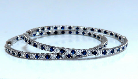 5.11ct Natural Sapphires Diamonds In Out Hoop Earrings 14kt 2+ Inch