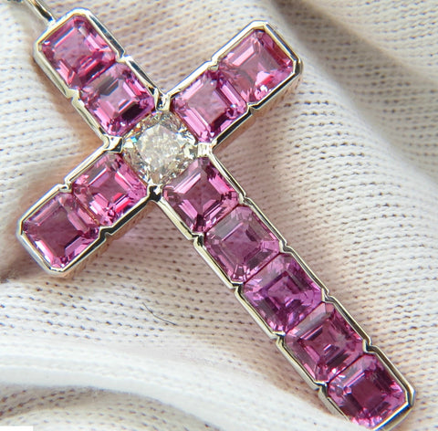 18KT GIA 10.41CT NATURAL PINK SAPPHIRE DIAMOND CROSS PENDANT NECKLACE