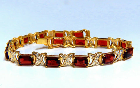 16.15ct Natural Garnets Diamond X Tennis Bracelet 14kt