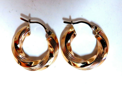 Tubular Twist 14kt Gold Hoop Earrings