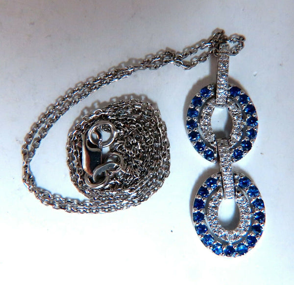 .90ct Natural Sapphire Diamonds Double Loop Link Necklace 14kt.