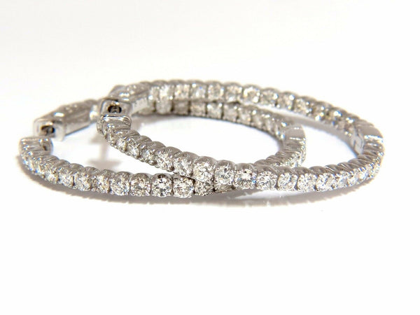 2.72CT Natural Diamonds Inside Out Hoop Earrings 14KT Button Press 1.4Inch