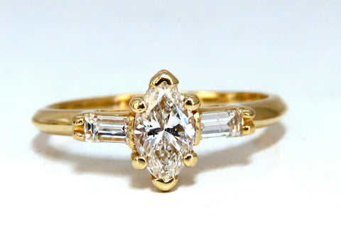 .98ct Natural Marquise Baguette Diamond Ring 14 Karat Gold Classic Three