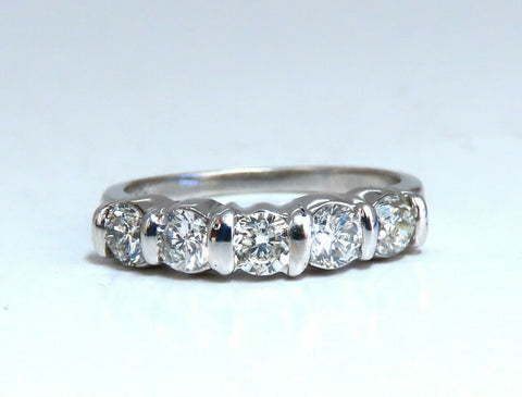 1.02ct Natural Round Diamonds Channel Band Platinum Ring