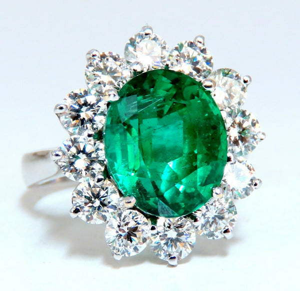 "GIA Certified 4.40ct natural green emerald diamonds ring 18kt ""F1"" Halo Prime"