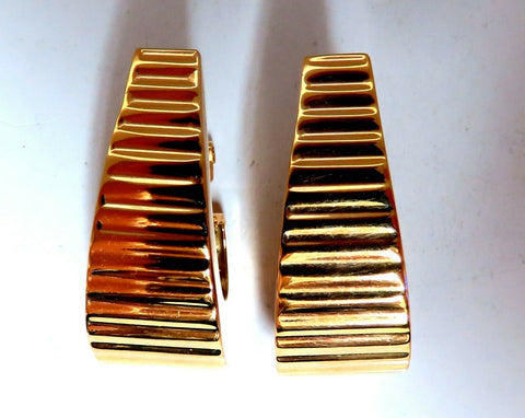 14kt Gold Wave Textured Semi Hoop Clip Earrings & Omega