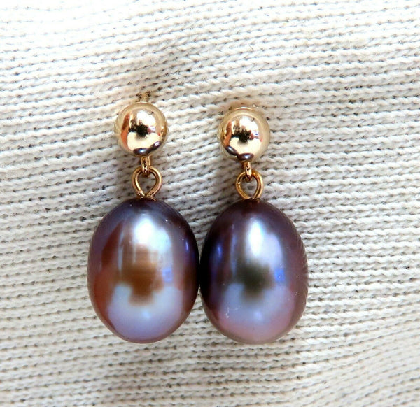 10x7 Gray Freshwater Pearl Dangle earrings 14kt.