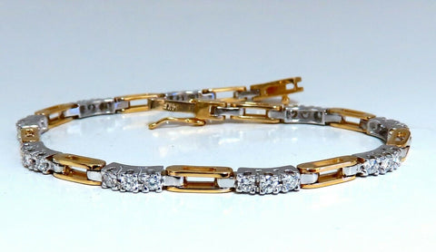 1.21ct Natural Round Diamonds Arch Link Bracelet 14kt