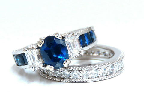GIA Certified 1.86ct Natural Sapphire Diamonds Ring & matching eternity band