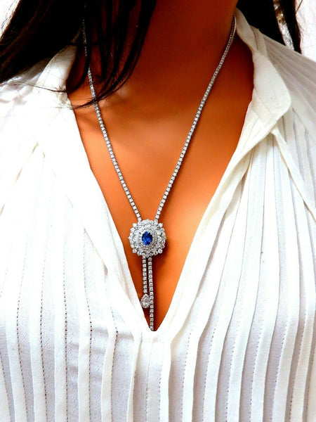 Cluster Bolo Necklace Natural Sapphire Diamonds 18kt Gold GIA Certified 17.30ct